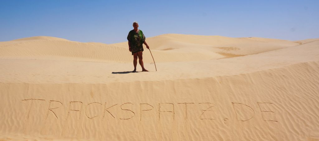 Trackspatz in der Sahara